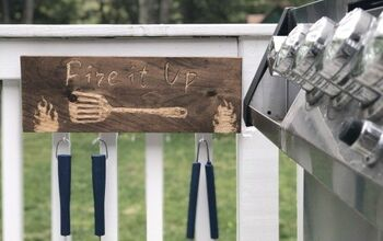 Wood Engraved Grill Utensil Organizer Sign