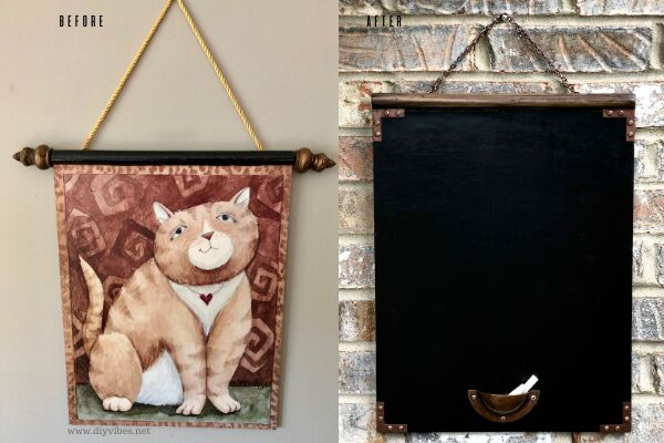 upcycled industrial style chalkboard
