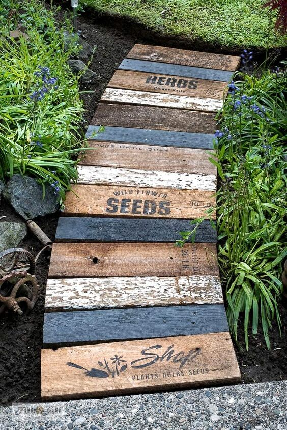 whip up a charming garden themed walkway using scrap wood
