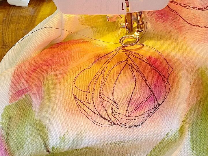 how to make a free motion embroidery stitch pillow