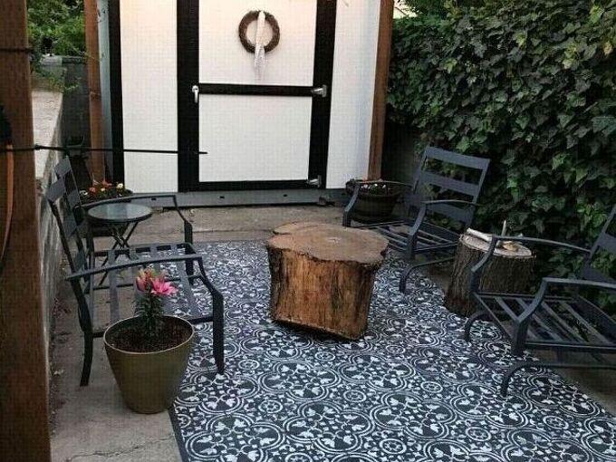 stenciled patio