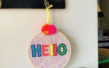 Easy Embroidered Pom Pom Sign