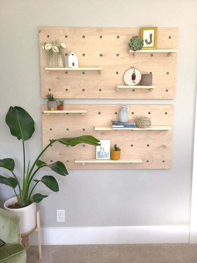 diy peg board shelf