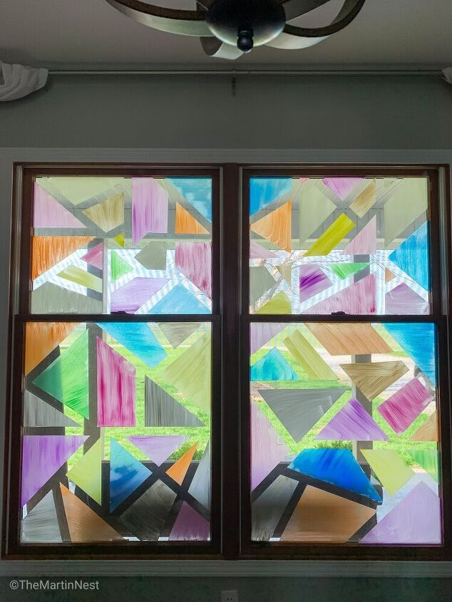 faux stained glass window art