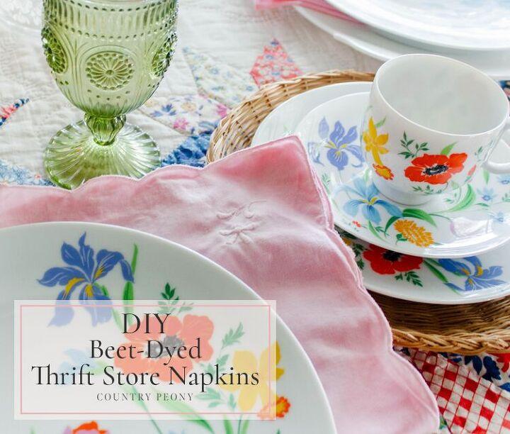 diy beet dyed thrift store napkins