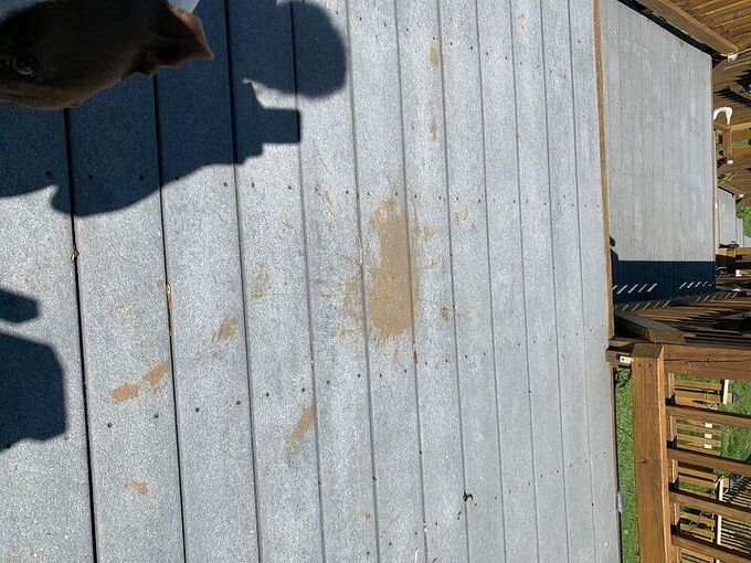 q how can i clean my trex deck i got stain on it