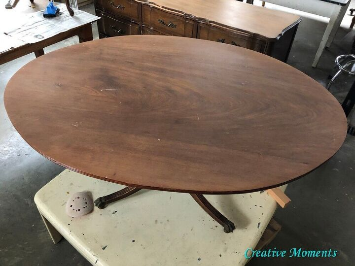 milk painted stained antique oval coffee table