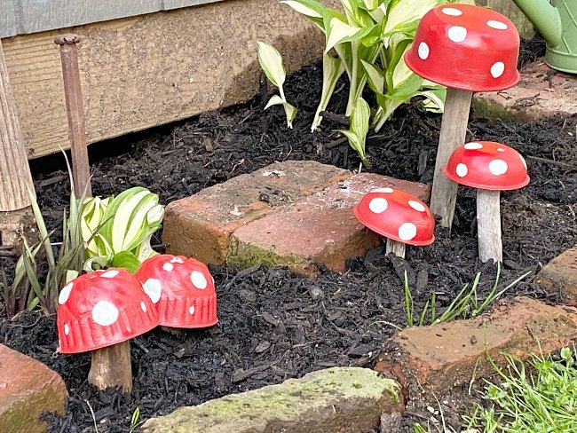 vintage tin garden mushrooms