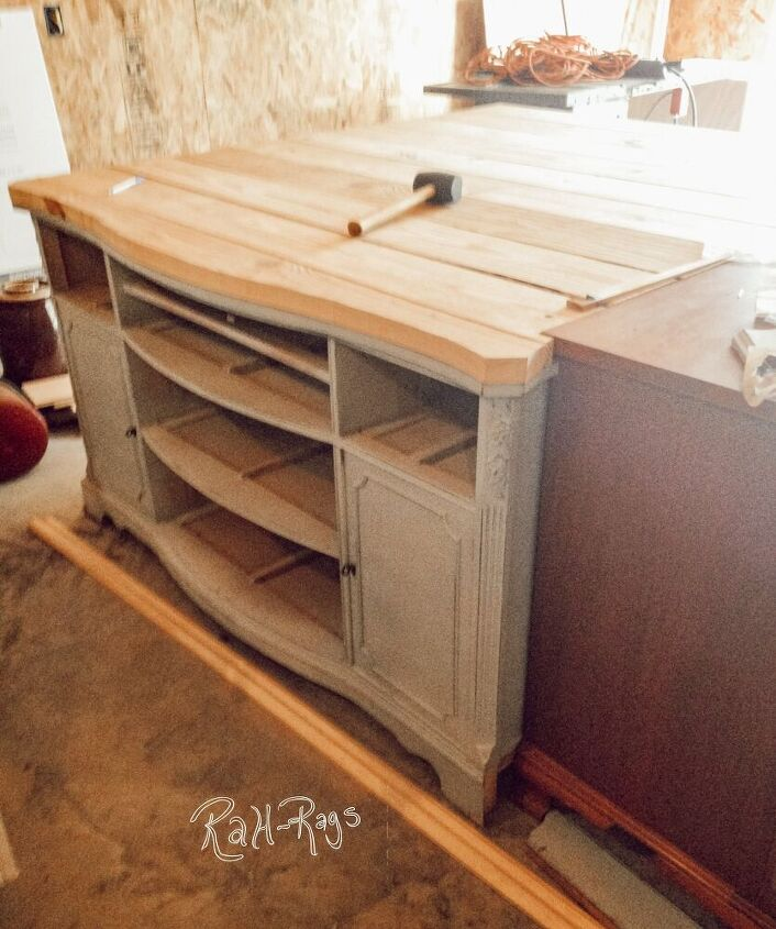 how to build a farmhouse island using a rescued cabinet
