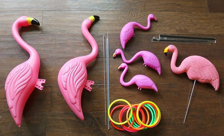 how to make a diy flamingo ring toss yard game