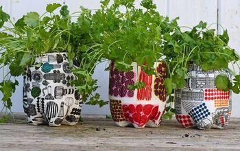Upcycled Marimekko Herb Planters