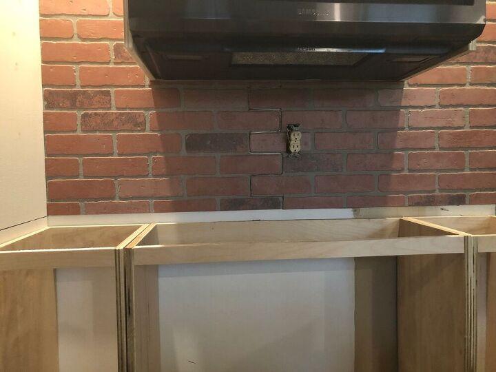 faux brick kitchen backsplash