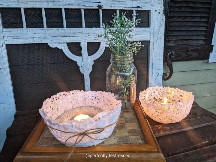 lace doily candle bowls