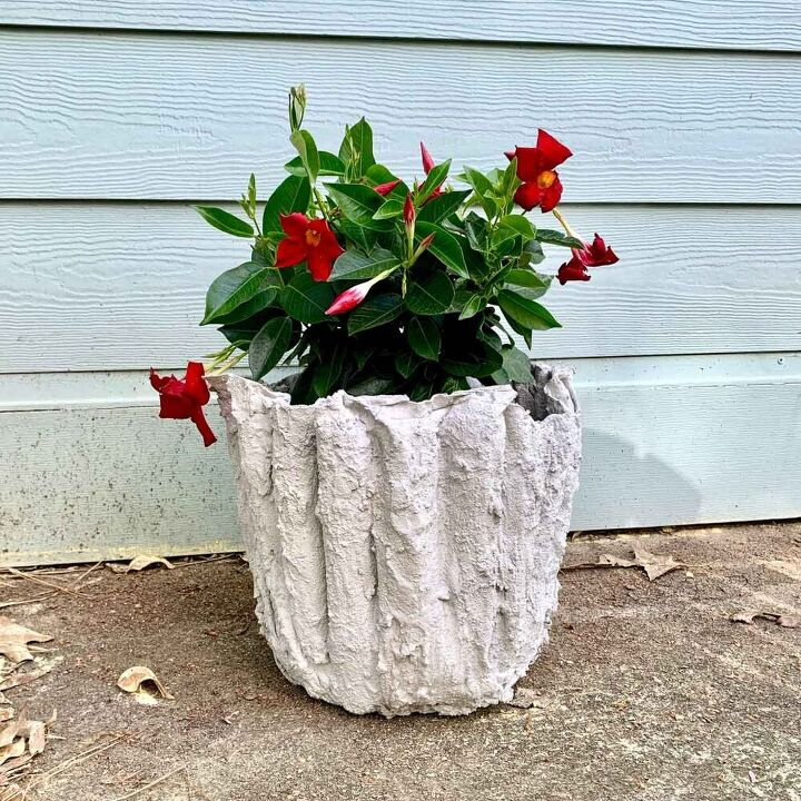 fabric draped cement flower pot with video