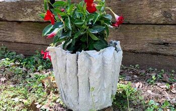 Fabric Draped Cement Flower Pot -with Video