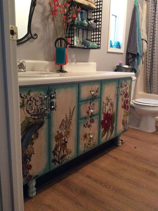 application of transfers to bathroom cabinets