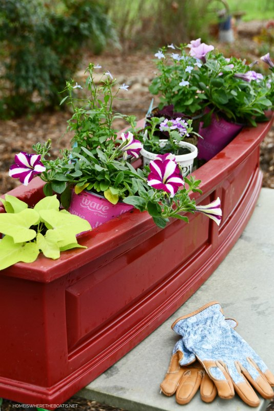 repairing and planting window boxes after squirrel damage