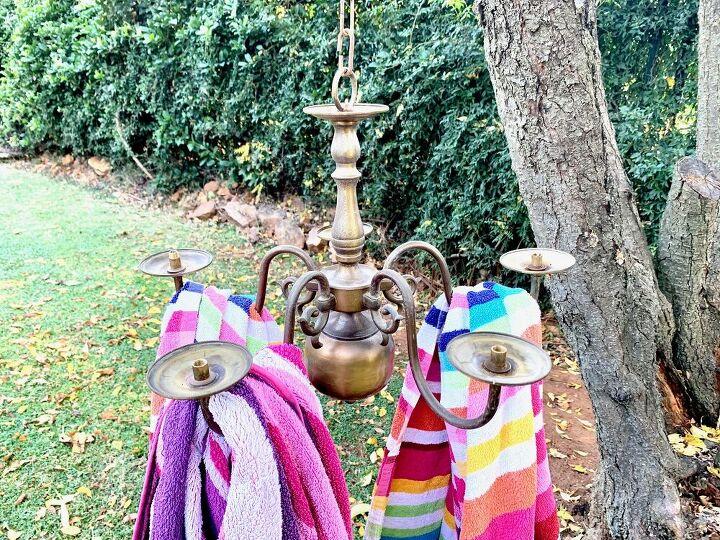 towel rack from old chandelier