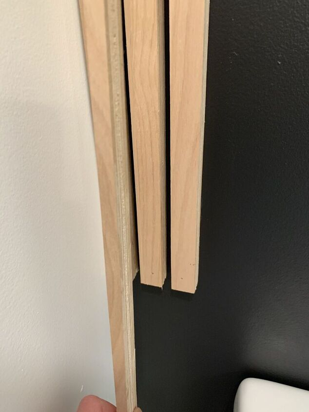use plywood strips to create a statement wall