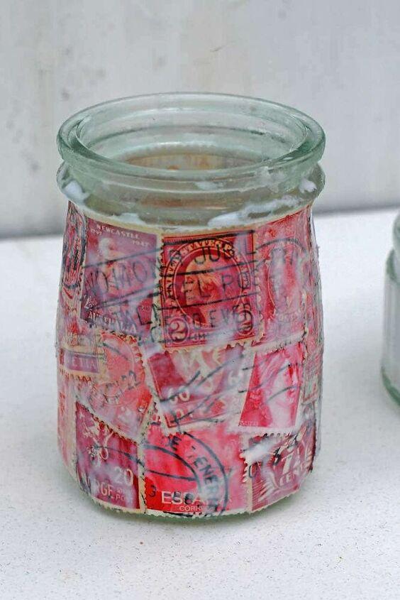 postage stamp jar tealights