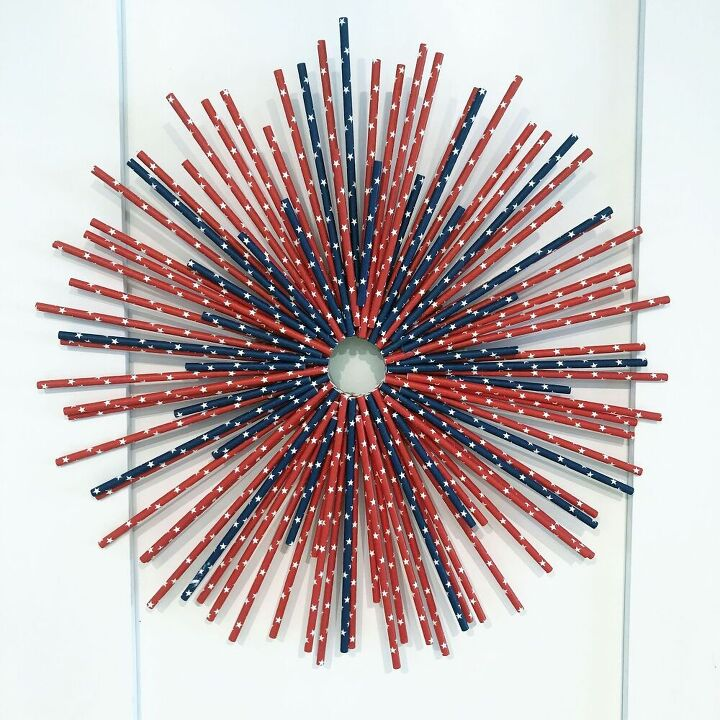 red white blue paper straw wreath