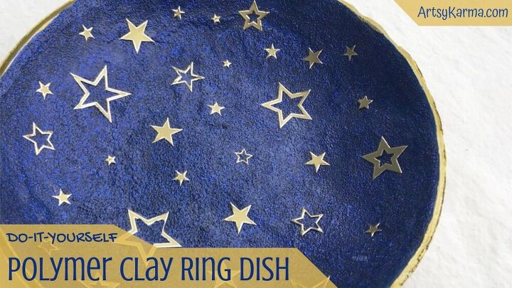 diy polymer clay ring dish that sparkles