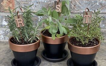 Wood and Copper Herb Markers