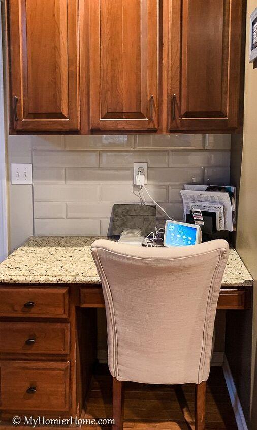 kitchen desk organization decluttering