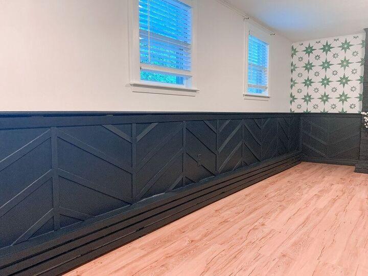 herringbone board and batten accent wall