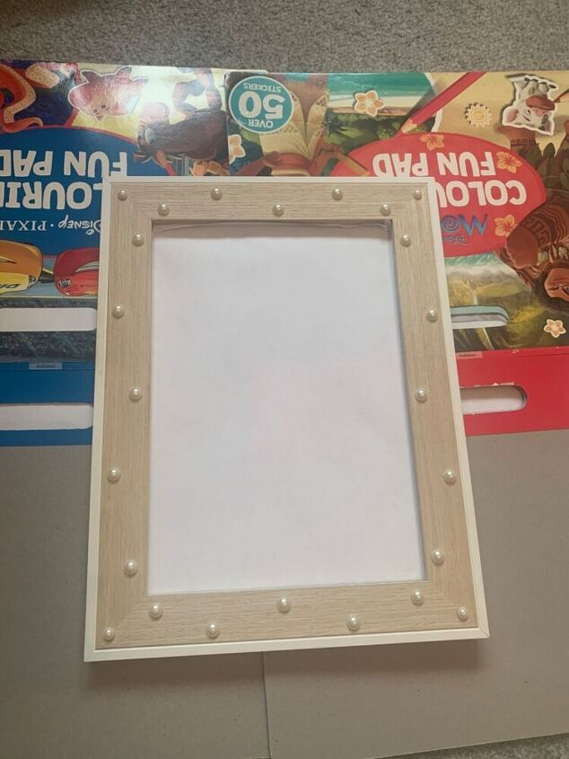 picture frame upcycle with pearl beads and spray paint