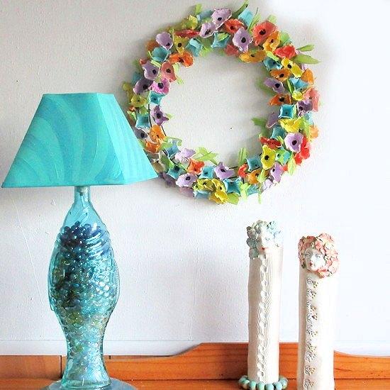 repurposed plastic egg carton wreath
