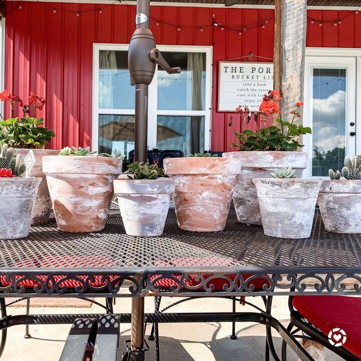 aged terra cotta pots