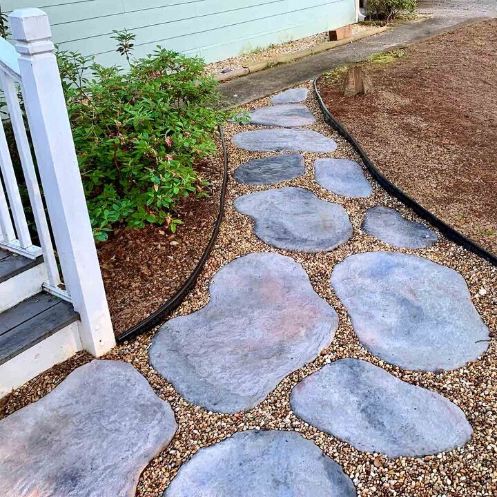 diy large concrete stepping stones shaped like natural stone