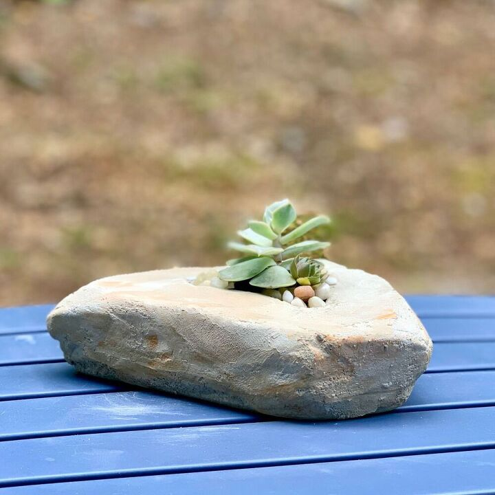 make a diy faux rock planter from cement
