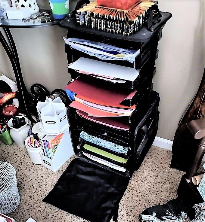 re purposed paper organizer desk