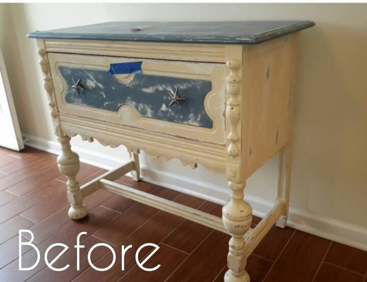 how to give a buffet a makeover and achieve an aged faux brick look