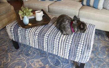 DIY An Ottoman Slipcover -- From an Throw Rug!