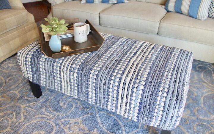diy an ottoman slipcover from an throw rug