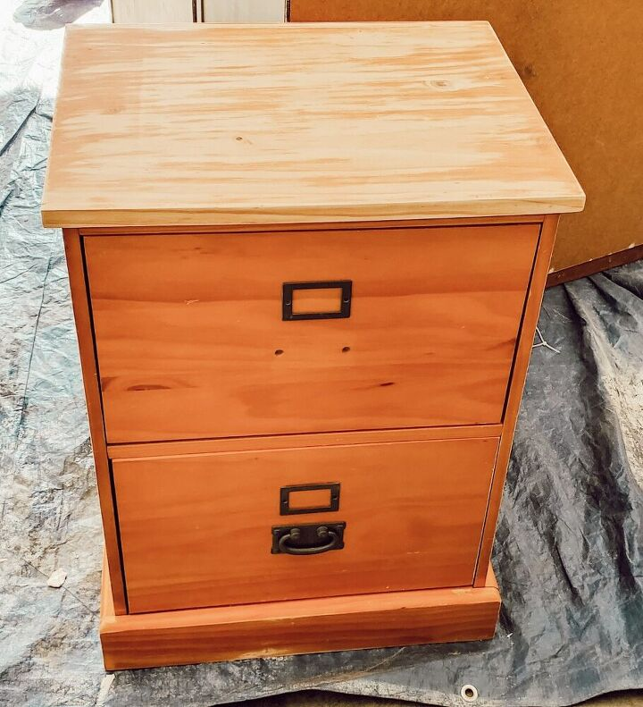 thrifted file cabinet makeover using stencils and paint