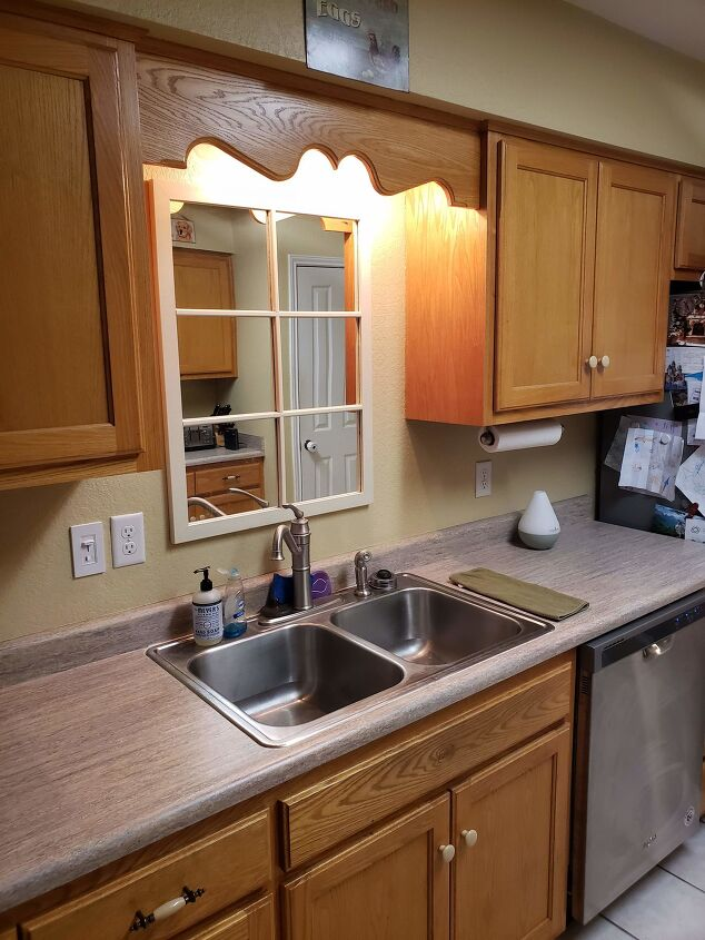 s 10 farmhouse kitchen makeover ideas on a budget, Kitchen Cabinet Farmhouse Refresh