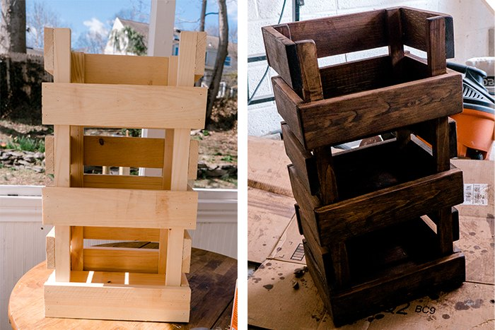 diy wooden produce storage rack