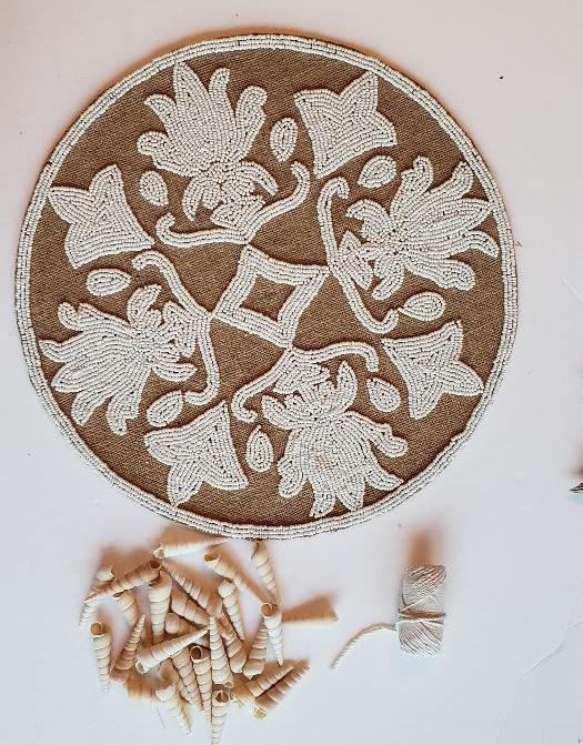 beachy beaded placemat clock