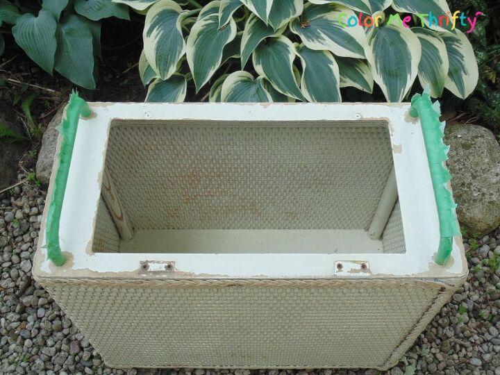 repurposed laundry hamper planter
