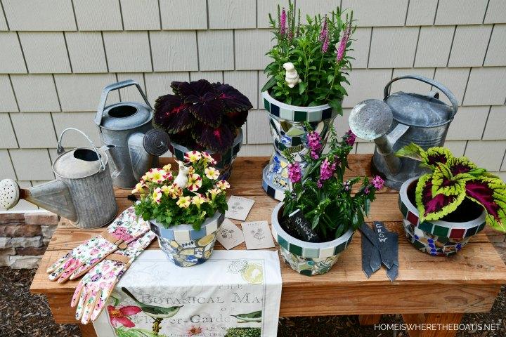 create mosaic flower pots