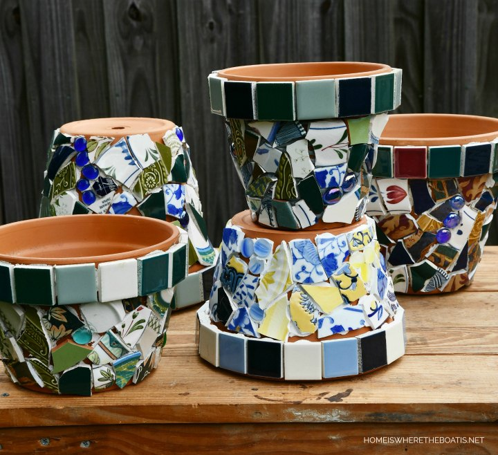 mosaic pots waiting for grouting
