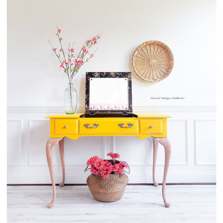 s 18 gorgeous ways to add tons color to your old furniture, Vintage Vanity Makeover