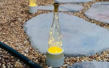 DIY Wine Bottle Lights With Pretty Cement Bases