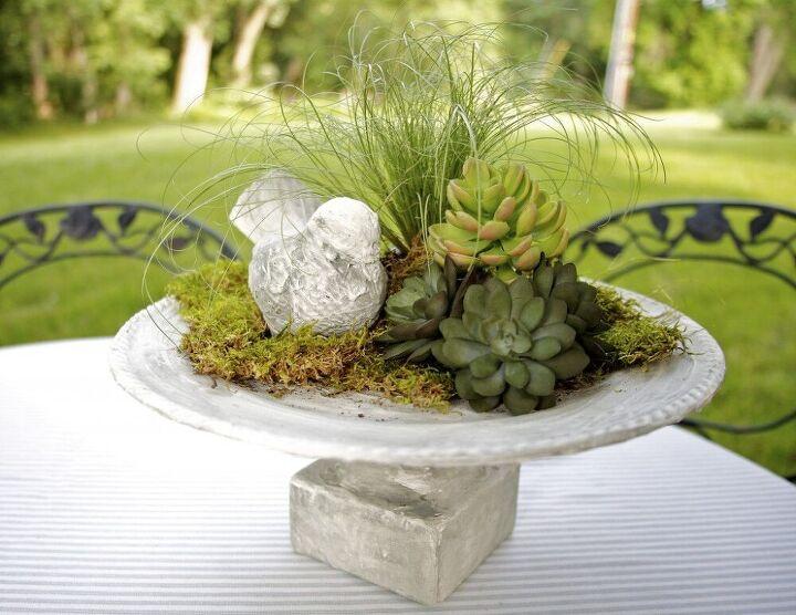 faux concrete birdbath centerpiece decor accessory
