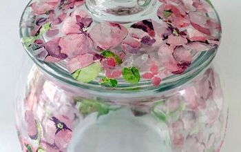 Decoupage Napkin Flowers on Glass Container