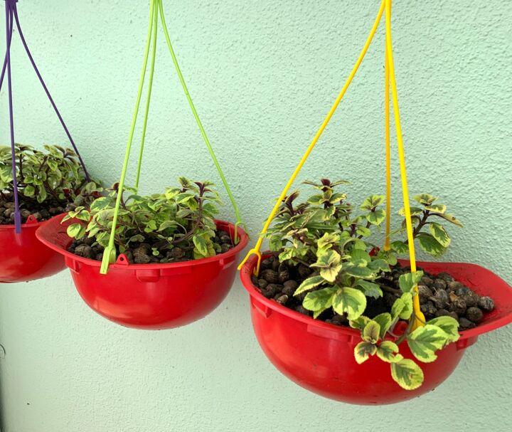 flower pots from hard hats